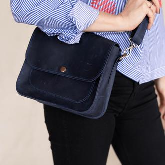 Женская небольшая сумка из натуральной кожи с винтажным эффектом через плечо синего цвета