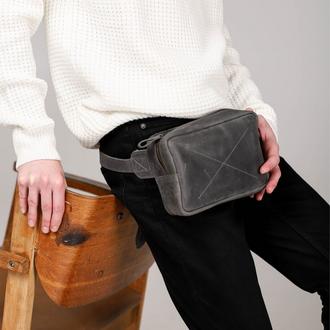 Чоловіча поясна сумка бананка сірого кольору ручної роботи з натуральної шкіри з вінтажним ефектом