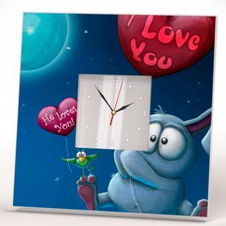 "Часы с зеркалом ""I Love You. Я тебя люблю"" День Валентина"