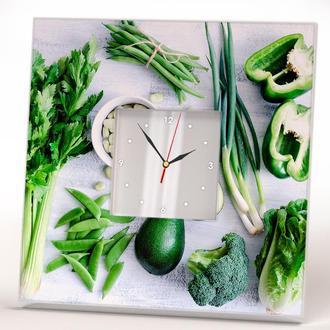 """Часы настенные с рисунком для кухни """"Зеленые овощи"""""""