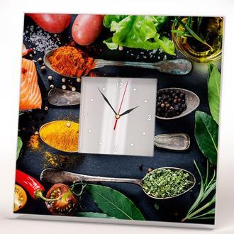 """Интерьерные часы для кухни, кафе, ресторана """"Специи и приправы"""""""