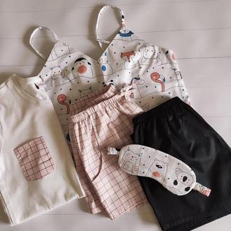 Женская пижама 5 в 1: майка, футболка, шорты чёрные и розовые в клетку, маска для сна
