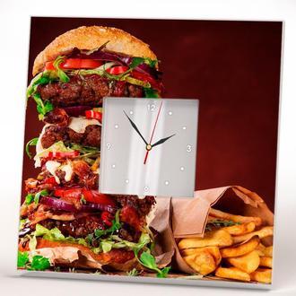 """Стильные часы с зеркальным циферблатом """"Большой бургер"""""""