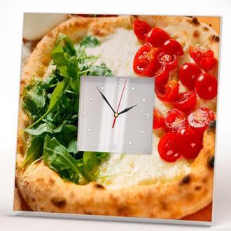 """Дизайнерские часы с декором """"Пицца как итальянский флаг"""" для кухни, кафе, бара, ресторана"""