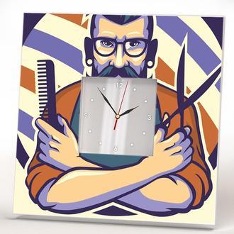 """Необычные стильные часы """"Модный барбер Barber"""" в барбершоп, парикмахерскую"""