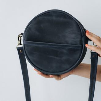 Круглая сумка через плечо женская ручной работы из натуральной кожи с винтажным эффектом