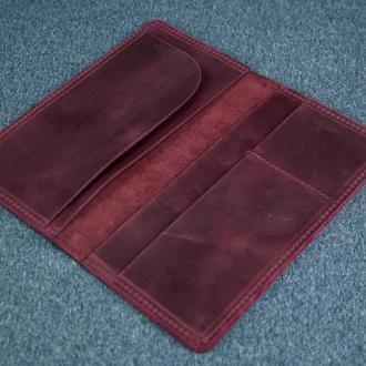 Кожаный кошелек клатч Лонг Тревел, винтажная кожа, цвет бордо