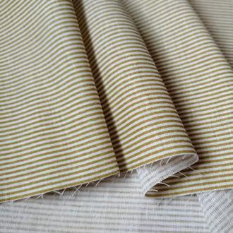 Ткань хлопок для рукоделия мелкая коричнево-бежевая полоска