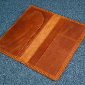 Кожаный кошелек клатч Лонг Тревел, винтажная кожа, цвет коньяк