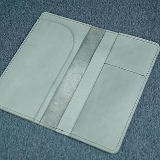 Кожаный кошелек клатч Лонг Тревел, винтажная кожа, цвет серый