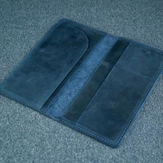 Кожаный кошелек клатч Лонг Тревел, винтажная кожа, цвет синий