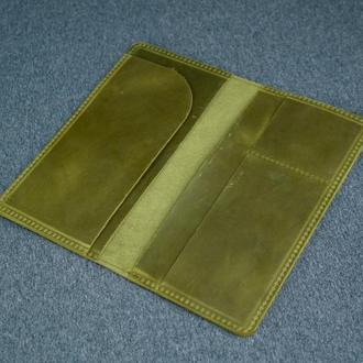 Кожаный кошелек клатч Лонг Тревел, винтажная кожа, цвет фисташка