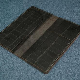 Кожаный кошелек клатч Лонг Тревел, винтажная кожа, оттиск №2, цвет шоколад
