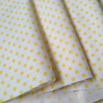 Ткань хлопок мелкий желтый горошек