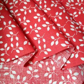 Ткань хлопок для рукоделия веточки на красном