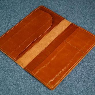 Кожаный кошелек клатч Лонг Тревел, кожа с лицевым покрытием Пуллап, цвет коньяк