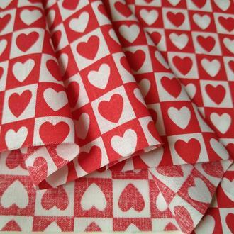 Ткань хлопок для рукоделия красно-белые сердца