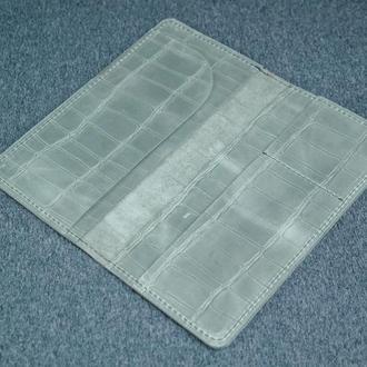Кожаный кошелек клатч Лонг Тревел, винтажная кожа, оттиск №2,  цвет серый