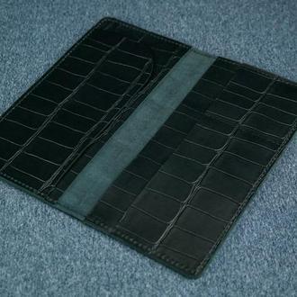 Кожаный кошелек клатч Лонг Тревел, винтажная кожа, оттиск №2, цвет черный