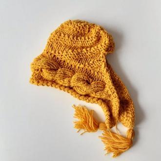 Шапка капюшон весенняя яркая шапка с кисточками объёмной косой ярко желтая