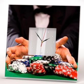 """Оригинальные часы """"Казино. Покерные фишки. Победа. Выиграш"""""""