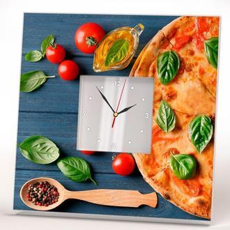"""Часы с рисунком """"Пицца"""" подарок для кухни на стену, на стол"""