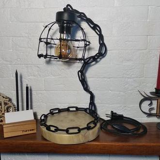 Лампа настольная wood & steel