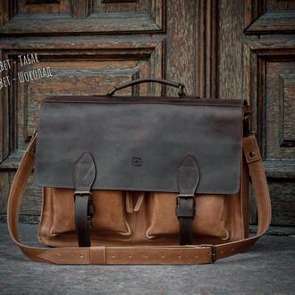Деловой кожаный мужской портфель. Повседневная кожаная сумка для ноутбука
