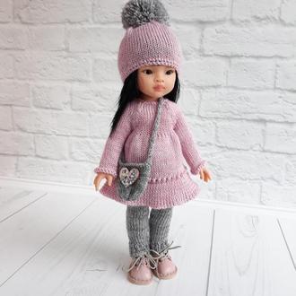 Вязаная одежда на куклу Паола 32 см, подарок девочке