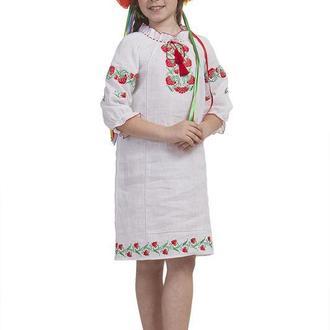 Платье для девочки Калинове намисто (лен белый)