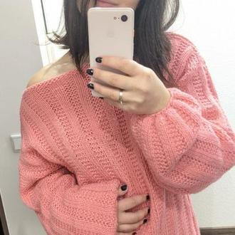 Супер нежный женственный свитер персикового цвета