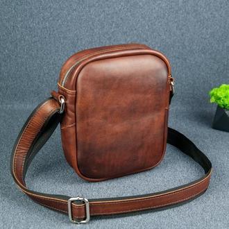 """Кожаная мужская сумка """"Модель №64"""", итальянский краст, цвет  вишня"""