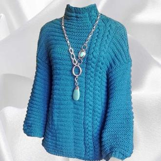 Женский свитер крупной вязки оверсайз