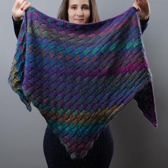 Разноцветная вязаная шаль из шерсти мериноса