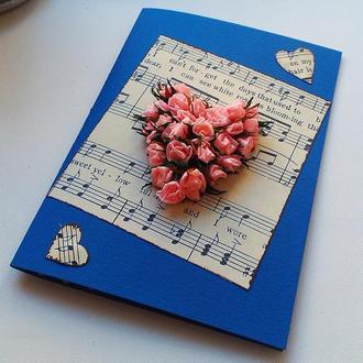"""Дизайнерская открытка, ручной работы """"music"""""""