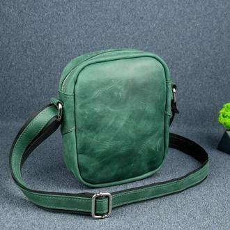 """Кожаная мужская сумка """"Модель №64"""", Винтажная кожа, цвет зеленый"""