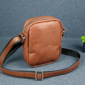 """Кожаная мужская сумка """"Модель №64"""", итальянский краст, цвет коричневый"""