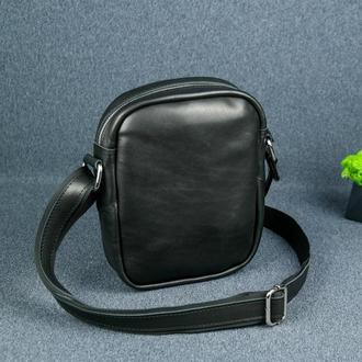 """Кожаная мужская сумка """"Модель №64"""", итальянский краст, цвет черный"""