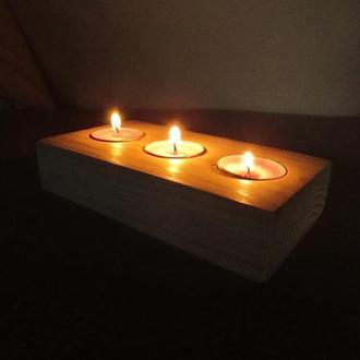 Деревянный подсвечник для чайних свечей