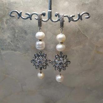 Сережки. Натуральний перли.