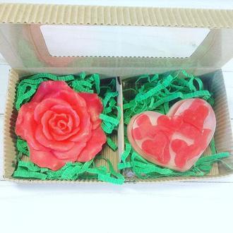 """Сувенирное мыло, набор """"Роза с сердцем"""""""
