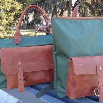 """Велика спортивна сумка рюкзак з водонепроникного """"Оксфорда""""1680 ПУ і натуральної шкіри ."""