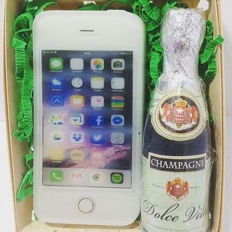 """Подарочный набор сувенирных мыл """"Шампанское и iPhone"""""""