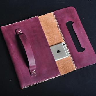 Кожаный клатч женский фиолетовый