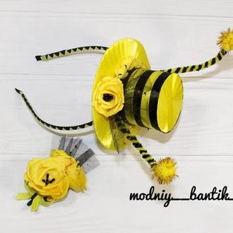 Набор обруч ободок пчелы пчелки+брошь цветок под костюм пчелка