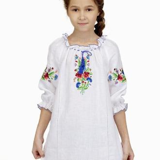 Сукня для дівчинки Фіалкова казка (льон білий)