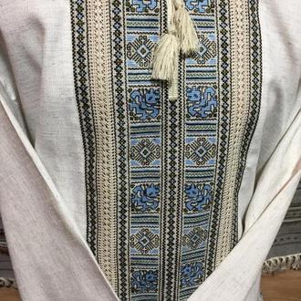 Стильная мужская вышиванка на сером льне. TM SavchukVyshyvka