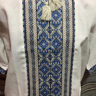 Этно вышиванка мужская на сером льне. TM SavchukVyshyvka