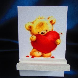 """Подставка """"Мишка- валентинка"""" для,,смартфона, планшета, телефона, подарок любимой"""