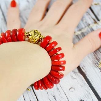 Крупный коралловый браслет
